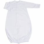Yummy Soft Newborn Unisex All White Pima Cotton Gown with Hat