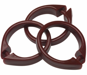 Burgundy Snap Type Round Plastic Shower Curtain Rings w/Snap Lock - Value Choice