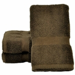Bath Towels,  Supreme Spa, 27x54, 15 Lbs, 100% Cotton, Dobby, Hemmed Edges, Chocolate
