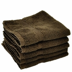 Washcloths, Supreme Spa, 13x13, 1.5 Lbs, 100% Cotton, Dobby, Hemmed Edges, Chocolate