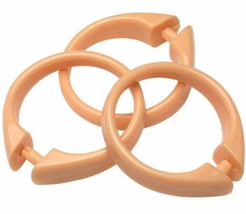 Peach Snap Type Round Plastic Shower Curtain Rings w/Snap Lock - Value Choice