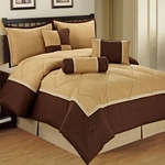 Queen, 7-Piece Comforter Sets, Michael Taupe / Brown, Microfiber