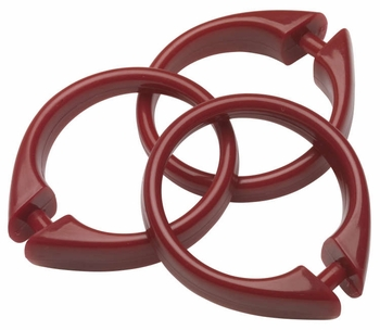 Ruby Snap Type Round Plastic Shower Curtain Rings w/Snap Lock - Value Choice