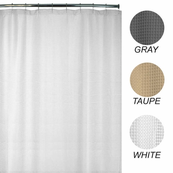 Extra Long Shower Curtains - Heavy-Weight, Waffle Weave Polyester Fabric - 72x78 - Durable, Washable
