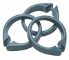 Slate Blue Snap Type Round Plastic Shower Curtain Rings w/Snap Lock - Value Choice