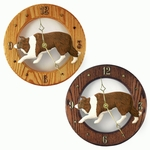 Border Collie Wall Clock-Red