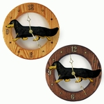 Dachshund (long hair) Wall Clock-Black and Tan