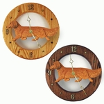 Dachshund (long hair) Wall Clock-Red