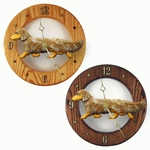 Dachshund (long hair) Wall Clock-Red Dapple