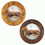 Dachshund (smooth) Wall Clock-Red Dapple