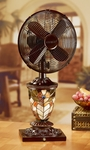 "Deco Breeze 10"" Mosaic Glass Table Fan - Peacock Feather [DBF0772]"