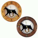 Doberman Wall Clock-Black-Tan