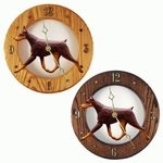 Doberman Wall Clock-Red-Tan