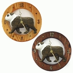 English Bulldog Wall Clock-Brindle-White