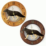 German Shepherd Wall Clock-Black w- Tan Points