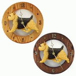 Norwich Terrier Wall Clock-Black-Tan