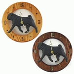 Pug Wall Clock-Black