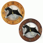 Schnauzer (natural) Wall Clock-Black-Silver