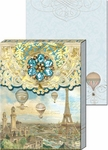 Balloons Over Paris Brooch Mini Notepad