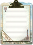 Balloons Over Paris Clipboard & Notepad Set