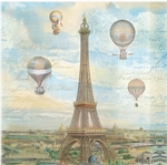 Balloons Over Paris Luncheon Napkins