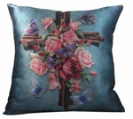 Butterfly Rose Cross Pillow