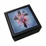 Butterfly Rose Cross Tile Box