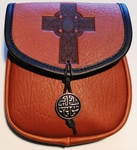 Celtic Cross Leather Belt Pouch (Medium)