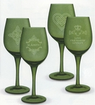 Set of 4 Celtic Etched Wine Glasses