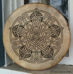 Celtic Moon Pentacle Hand-Painted Drum