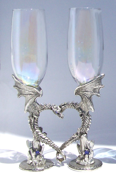 Dragon Heart Glasses Flutes Wedding Wine Glasses By