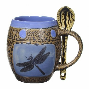 Dragonfly mugs with spoons box set 4
