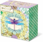 Dragonfly Stripe Green Tea Pleat-Wrapped Soap