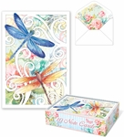 Dragonfly Swirl Die-Cut Note Cards