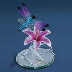 Glass Dragonfly with lily