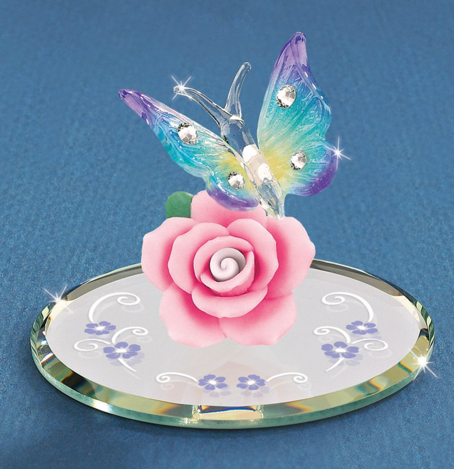 Flower Amp Butterfly Glass Figurine Butterfly Gifts