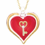 Heart with Key Glass Necklace