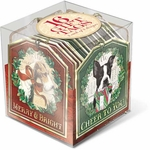 Holiday Dogs Gift Tag Cube