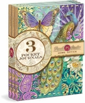 Indian Peacock Stitched Pocket Journals 3-Pack