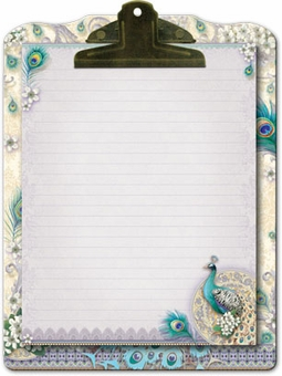 Ivory Peacock Clipboard & Notepad Set