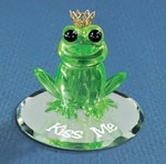"""Kiss Me"" Frog Glass Figurine"