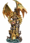Large Golden Dragon on a Castle