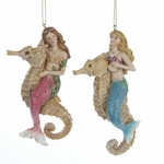 Mermaids on Seahorses Ornaments