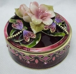 Pink Porcelain Flower with Dragonfly Box