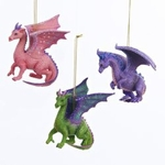 Pink, Purple & Green Dragon Ornament Set