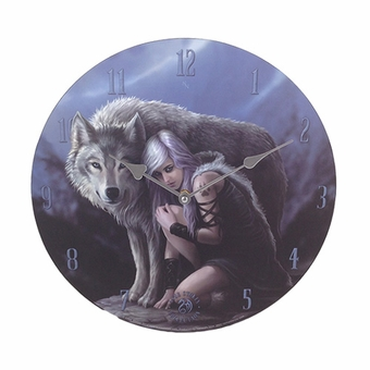 Protector Wall Clock By Anne Stokes Wolf Gifts Amp Decor