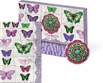 Purple Butterfly Stitches Embellished Portfolio Box Note Cards