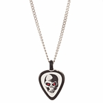 Skull Guitar Pick Glass Necklace
