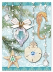 Teal Sea Ornaments Christmas Cards