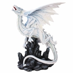 White Mystical Dragon on Rock